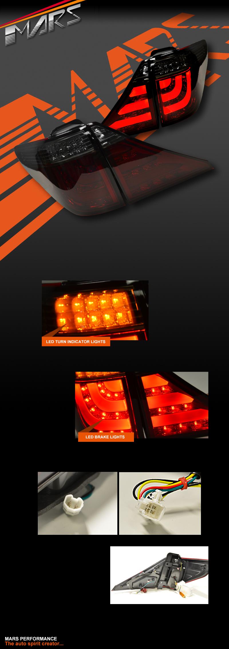 Smoked Red 3D Stripe Bar LED Tail Lights for TOYOTA ALPHARD VELLFIRE