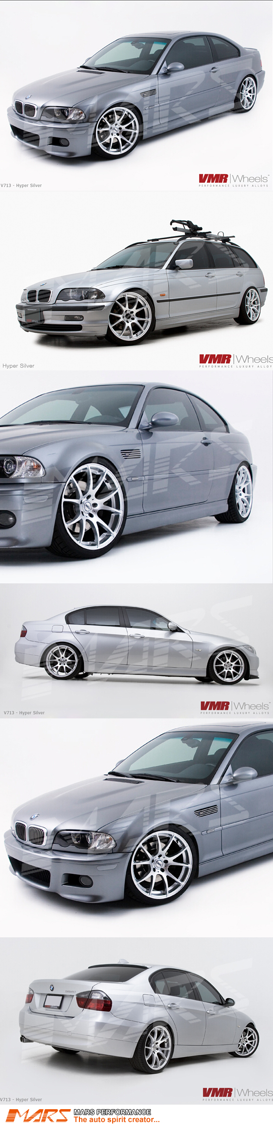 Vmr V713 4 X 19 Inch Hype Silver Concave Alloy Wheels Rims 5x120 Mars Performance