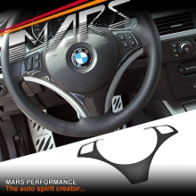 Carbon Fibre Steering Wheel Cover for BMW E90 E91 09-11 LCI Update models
