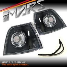 Black Front Bumper Bar Turn Signal Indicator Corner lights for BMW E36 3-Series 4 doors Sedan