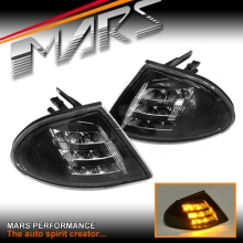 Black LED Front Bumper Bar Corner Turn Signal Indicator Lights for BMW E46 Sedan 98-01