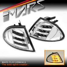 Clear LED Front Bumper Bar Corner Turn Signal Indicator Lights for BMW E46 Sedan 98-01
