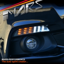 MARS Smoked Parking Lights with LED Dynamic Indicator Turn Signal for Ford Mustang Bumper Bar FM 15-17