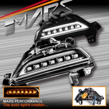 Black Bumper Bar DRL lights with LED Indicator Turn Signal for MAZDA 3 BM 2013-2016