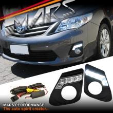 MARS Bumper Bar LED DRL Day-Time Fog Light covers for Toyota Corolla Sedan 11-13