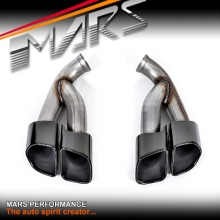 Black Square TURBO S Style Twin Outlet Exhaust Muffler Tips for Porsche Cayenne 92A models 10-14