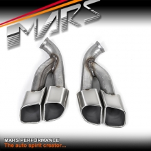 Silver Square TURBO S Style Twin Outlet Exhaust Muffler Tips for Porsche Cayenne 92A models 10-17