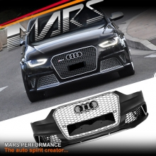 RS4 Style Front Bumper Bar with Grille for AUDI A4 S4 B8 12-16 Sedan & Avant