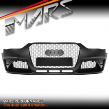 RS Style Front Bumper Bar with Grille & fog lights for AUDI A4 S4 B8 12-16 Sedan & Avant