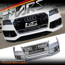 RS7 Style Front Bumper Bar with Chrome Black Honeycomb Grille for AUDI A7 4G 11-14