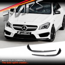 Gloss Black Front bumper Bar side Canard Blades for Mercedes-Benz CLA45 & AMG Package C117 X117 13-16