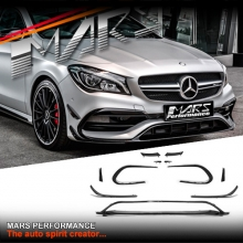 Gloss Black Front bumper Aero Kits & side Blade Canards for Mercedes-Benz C117 X117 CLA45 & AMG Package 16+