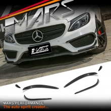 C43 Style Carbon Fibre Front bumper Lip Spoiler Blade Canards for Mercedes Benz C205 S205 W205 AMG