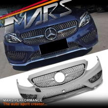 C43 AMG Style Front Bumper bar with Grille & Diamond Mesh for Mercedes-Benz W205 S205
