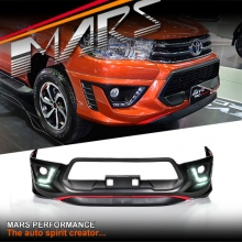 TRD Style Front Bumper Bar Cover with DRL Lights for Toyota Hilux 15-17