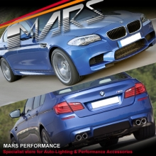M5 Style Side Skirts & Front Bumper & Rear Bumper with Twin Exhaust for BMW 5-Series F10