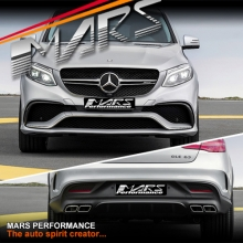 GLE63 AMG Style Front Bumper bar & Rear Diffuser with Exhaust Tips for Mercedes-Benz GLE Class Coupe W292 C292
