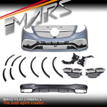 GLE63 AMG Style Front Bumper bar & Rear Diffuser with Exhaust Tips for Mercedes-Benz GLE Class W166