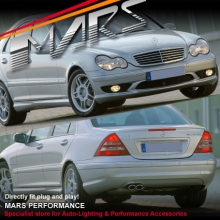 AMG C55 Style Front & Rear Bumper bar & Side Skirts for Mercedes-Benz C-Class W203 Sedan