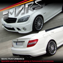 AMG C63 Style Front & Rear Bumper bar & Side Skirts for Mercedes-Benz W204 07-10 Sedan With Twin Exhuast Outlet