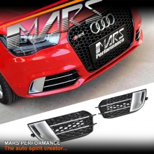 RS1 Honeycomb Style Front Bumper Bar Fog light Grille Cover for AUDI A1 8X 2010-2014