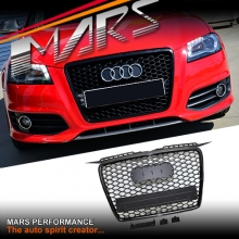 Gloss Black Honeycomb RS Style Front Bumper Bar Grille for AUDI A3 8P 05-08