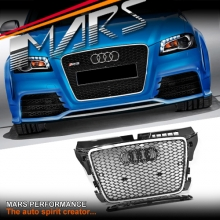 Chrome Black Honeycomb RS3 Style Front Bumper Bar Grille for AUDI A3 8P 09-12