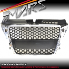 RS HONEY-COM STYLE FRONT Chrome Black GRILLE FOR AUDI A3 8P 09-12