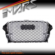 Chrome Black Honeycomb RS Style Front Bumper Bar Grille for AUDI A3 S3 8V 13-16