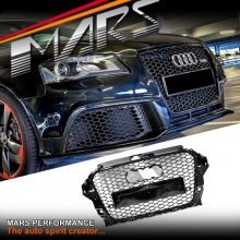 Gloss Black Honeycomb RS3 Style Front Bumper Bar Grille for AUDI A3 S3 8V 13-16
