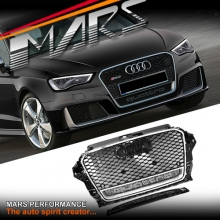 Chrome Black QUATTRO RS3 Style Front Bumper Bar Grille for AUDI A3 8V 13-16
