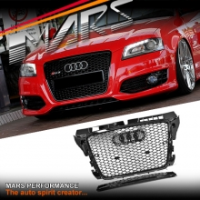 Gloss Black Honeycomb RS3 Style Front Bumper Bar Grille for AUDI A3 8P 09-12