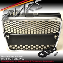 CHROME BLACK RS HONEY-COM STYLE FRONT GRILLE FOR AUDI A4 B7