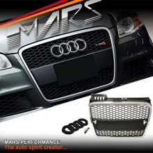 CHROME BLACK RS HONEYCOMB STYLE FRONT BUMPER BAR GRILLE FOR AUDI A4 B7