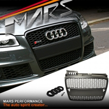 MATT BLACK RS HONEYCOMB STYLE FRONT BUMPER BAR GRILLE FOR AUDI A4 B7