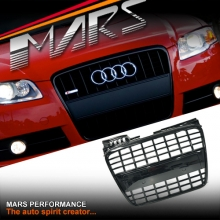 GLOSS BLACK S8 STYLE FRONT BUMPER BAR GRILLE FOR AUDI A4 B7 S-LINE & S4