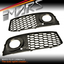 GLOSS BLACK RS HONEY-COM STYLE FOG LIGHT GRILLE FOR AUDI A4 B8 09-11 SEDAN & AVANT