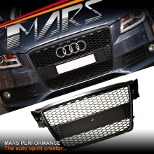 MATT BLACK RS HONEY-COM STYLE FRONT GRILLE FOR AUDI A4 S4 B8 09-11 SEDAN & AVANT