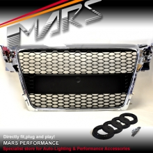 CHROME BLACK RS HONEY-COM STYLE FRONT GRILLE FOR AUDI A4 S4 B8 09-11 SEDAN & AVANT
