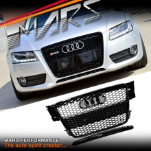 Gloss Black Honeycomb RS5 Style Front Bumper Bar Grille for AUDI A5 8T 08-12