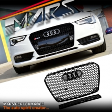 Gloss Black Honeycomb RS5 Style Front Bumper Bar Grille for AUDI A5 8T 13-16