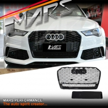 Gloss Black QUATTRO RS6 Style Front Bumper Bar Grille for AUDI A6 C7 15-17