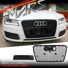 Gloss Black Honeycomb RS7 Style Front Bumper Bar Grille for AUDI A7 4G MY10-MY14