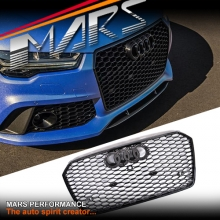 Gloss Black Honeycomb RS7 Style Front Bumper Bar Grille for AUDI A7 4G MY15-MY17