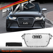 Chrome Silver Honeycomb RS4 Style Front Bumper Bar Grille for AUDI A4 B8 12-16