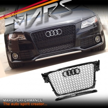 Gloss Black Honeycomb RS4 Style Front Bumper Bar Grille for AUDI A4 B8 09-11