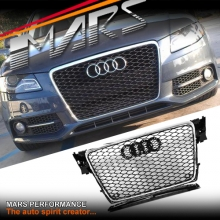 Chrome Black Honeycomb RS4 Style Front Bumper Bar Grille for AUDI A4 B8 09-11