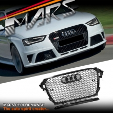 Gloss Black Honeycomb RS4 Style Front Bumper Bar Grille for AUDI A4 B8 12-16
