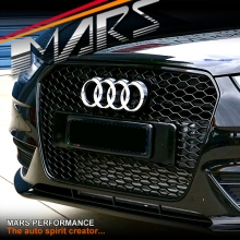 GLOSS BLACK RS4 HONEY-COM STYLE FRONT GRILLE FOR AUDI A4 S4 B8 12-15 SEDAN & AVANT