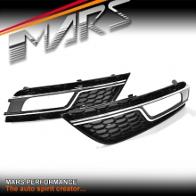 Chrome Black RS4 Style Front Bumper Bar Fog Lights Cover Grille for AUDI A4 B8 12-13